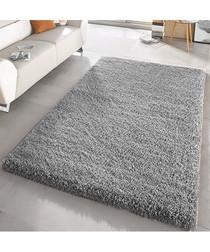 Silver shaggy pile rug 66 x 110cm