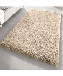 Beige shaggy pile rug 160 x 230cm