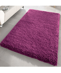Aubergine shaggy pile rug 200 x 290cm