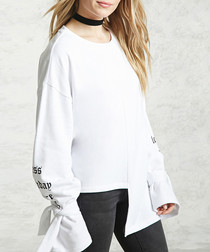 White cotton blend flared sleeve top