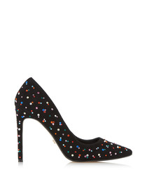 Blinkk black suede embellished heels