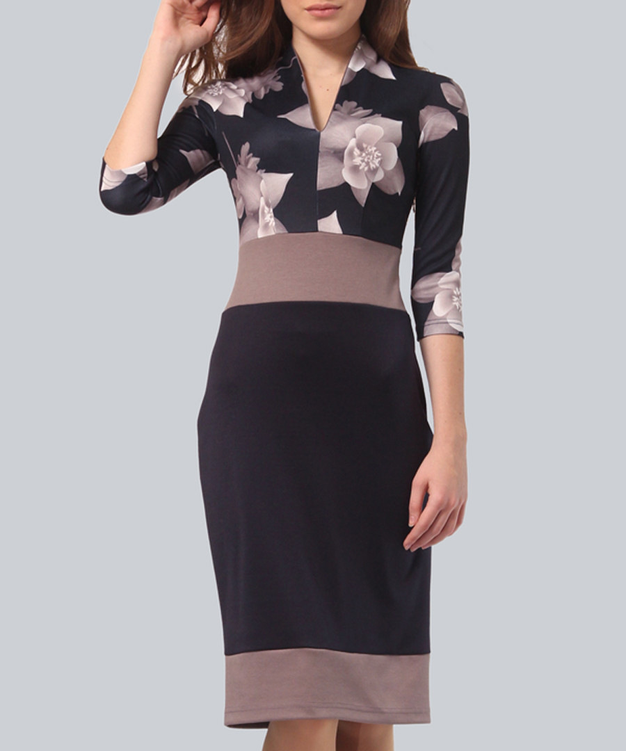 Navy & mocha floral V-neck dress Sale - Lila Kass