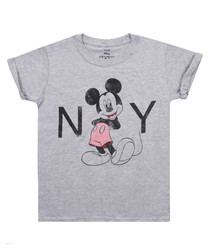 New York grey cotton blend T-shirt