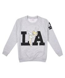 LA grey cotton blend Tinkerbell jumper