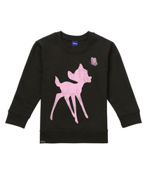 Bambi black cotton blend jumper
