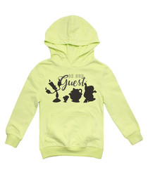 Guest lime cotton blend hoodie
