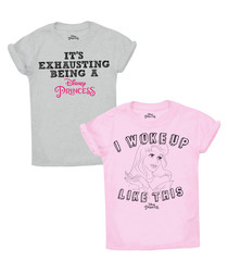 2pc grey & pink cotton blend T-shirt set