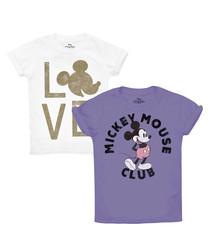 2pc white cotton blend T-shirt set