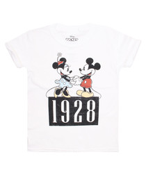 Girls' 1928 Mickey white cotton T-shirt