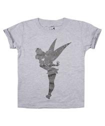 Girls' Tinkerbell grey cotton T-shirt