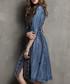 Blue cotton blend denim shirt dress Sale - keer qiaowa Sale