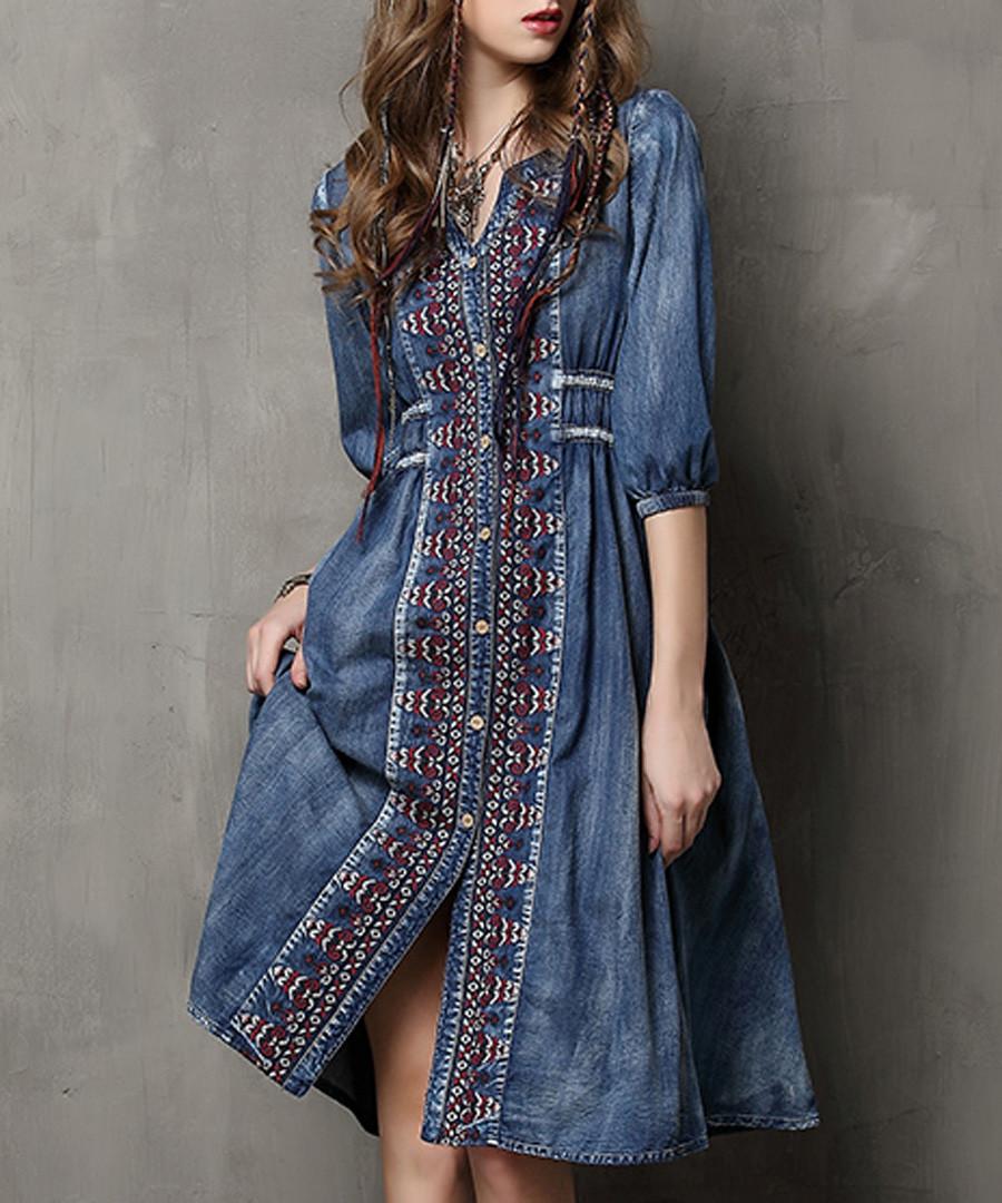 Blue cotton blend denim shirt dress Sale - keer qiaowa