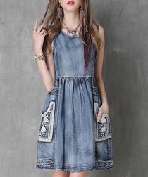 Blue cotton blend denim pinafore dress