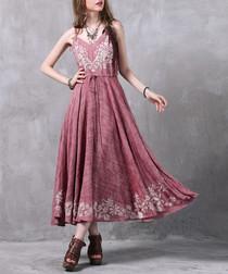 Pink cotton & linen blend maxi dress