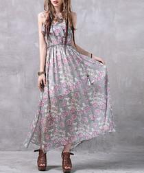 Pink floral print maxi dress