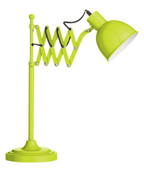 Lime green metal extendable table lamp