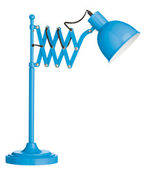 Blue metal extendable table lamp