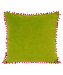 Pompom green velvet cushion 45cm