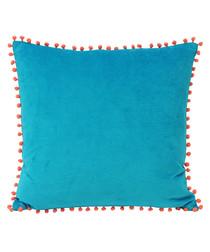 Pompom teal velvet cushion 45cm