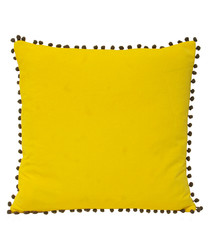 Yellow velvet pom pom trim cushion 45cm