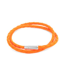 Pop Scoubidou orange leather bracelet
