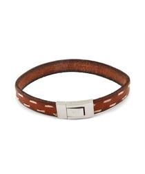 Brown & white leather bracelet