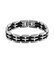 Silver-tone & black link bracelet