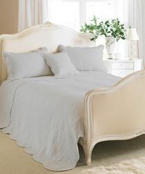 Toulon grey cotton bedspread 195 x 260cm