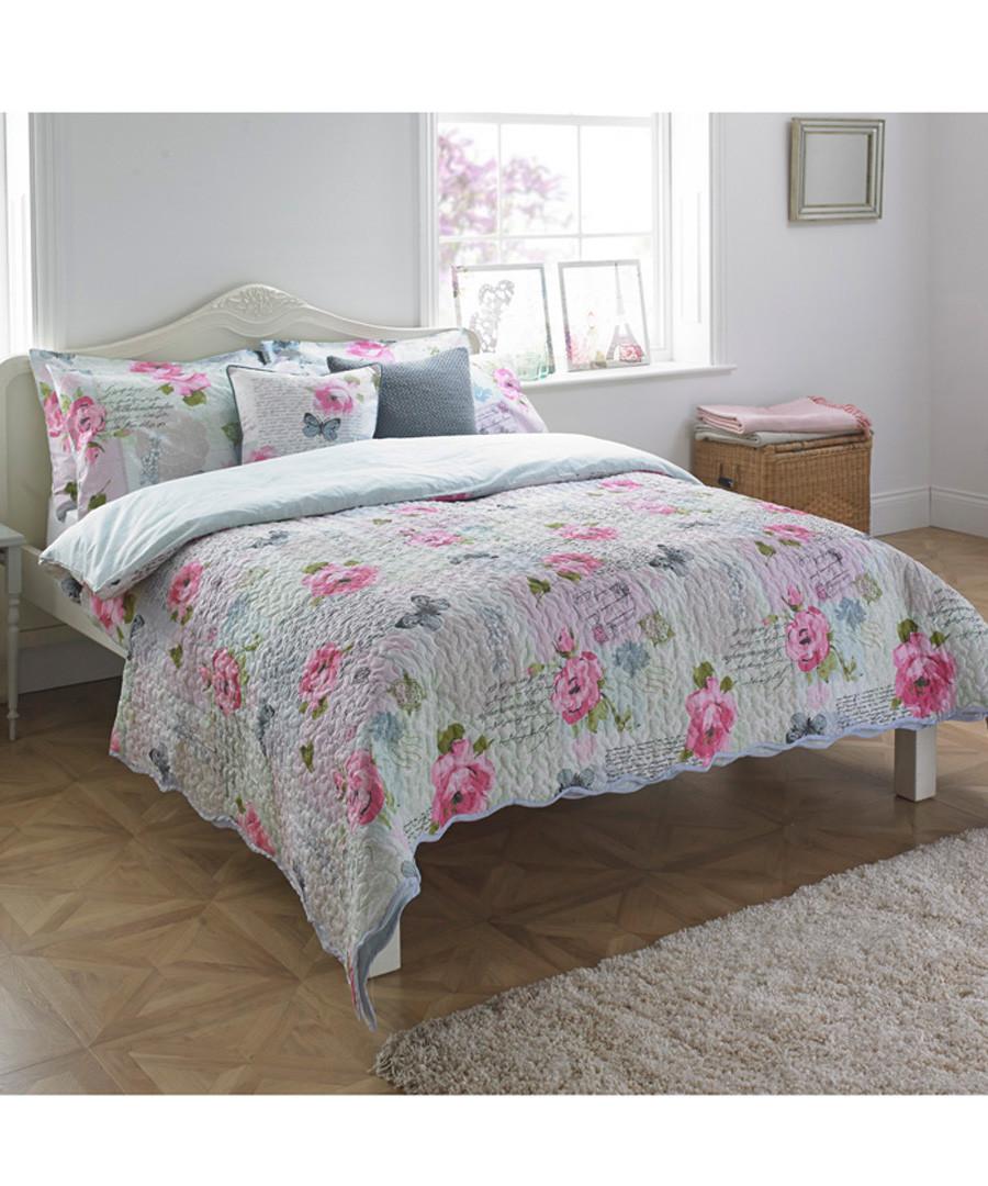 Rosebery pink rose bedspread 240 x 260cm Sale - riva paoletti