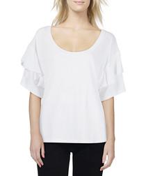 Abracadabra white ruffled sleeve T-shirt