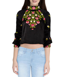 Jessica black embroidered blouse