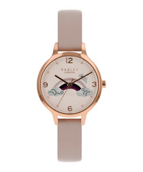 Rainbow rose gold-tone leather watch