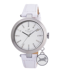 White leather & crystal detail watch