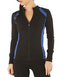 Black & blue cotton blend zip-up jacket