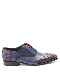 Dark blue & red leather weave brogues
