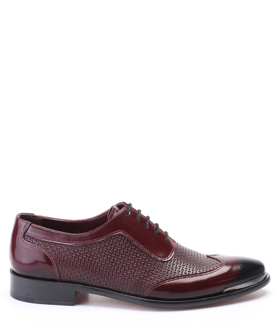 Bordeaux red textured leather brogues Sale - deckard