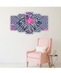 5pc Pink Flamingo wall art