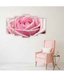 5pc Pink Rose wall art