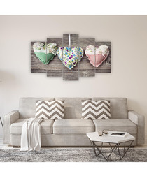 5pc Three Hearts wall art