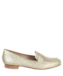 Taupe glitter slip-on loafers