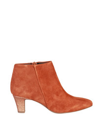 Tan suede mid heel ankle boots