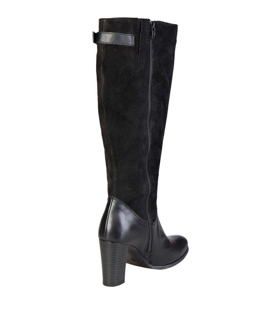 reputable site cheaper new products Discount Black leather & suede knee-high boots | SECRETSALES