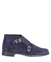 Ferdinand blue suede buckle ankle boots