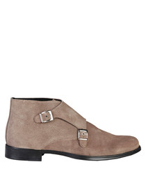Ferdinand taupe suede buckle boots