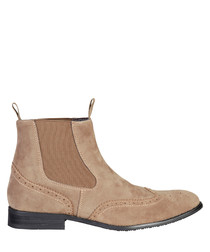 Taupe perforated Chelsea boots
