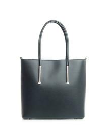 Black leather zip closure shoulder bag
