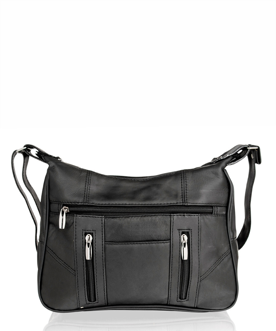 Black leather zipped shoulder bag Sale - lorenz
