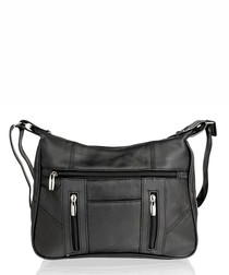 Black leather zipped shoulder bag