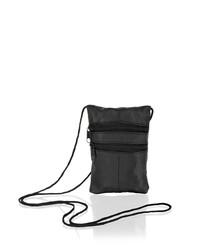 Black leather zipped crossbody bag