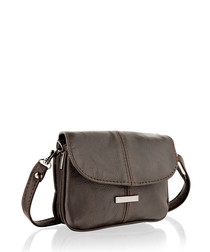 Brown leather flap over shoulder bag